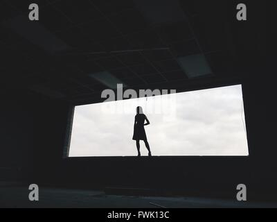Low Angle View Of Silhouette Woman Standing On Window Against Sky - Stock Photo