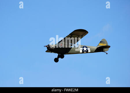 Piper J-3 Cub during its display at East Fortune Airshow 2011 - Stock Photo