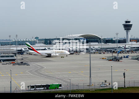Emirates A380 800 Airbus taxing, Franz Josef Strauss Airport, Munich, Upper Bavaria, Germany, Europe. - Stock Photo