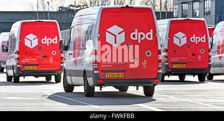 dpd parcel delivery vans parked in secure sorting & distribution vehicle transport depot Dagenham East London England UK