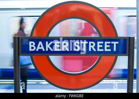 Baker Street Underground London Sign Signage Roundel Train - Stock Photo