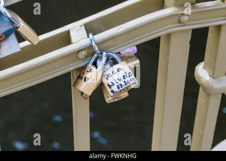 PRAGUE, CZECH REPUBLIC - DECEMBER 31, 2015 : Close up detailed view of love padlocks on a bridge in Pague. - Stock Photo