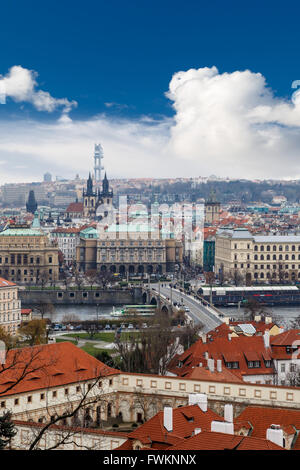 PRAGUE, CZECH REPUBLIC - DECEMBER 30 : Top cityscape view of Prague with historical gothic architecture, on cludy - Stock Photo