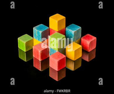 Still life composition of wooden toy blocks - Stock Photo