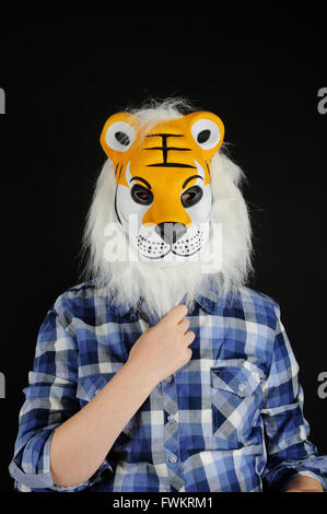 One person with animal mask. Hidden identity - Stock Photo