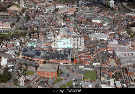 aerial view of Chesterfield town centre, Derbyshire, UK - Stock Photo