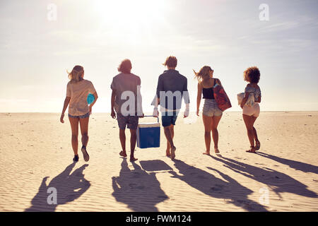 Rear view portrait of group of young people walking on the beach carrying a cooler box. Young men and woman on sea - Stock Photo