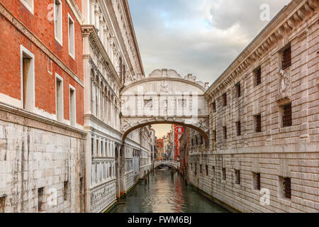 Bridge of Sighs in Venice, Italy - Stock Photo