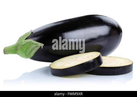 Eggplant aubergine slice slices vegetable isolated on a white background Stock Photo