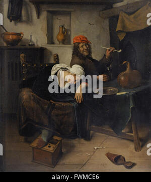 Jan Havickszoon Steen (1626-1679). Dutch painter. The Revellers, 1660. The State Hermitage Museum. Saint Petersburg. - Stock Photo
