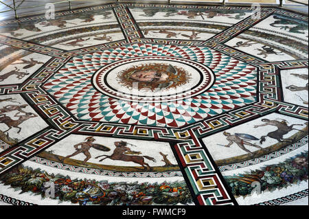 Roman mosaic replica of the Baths of Ocriculum (Otricoli, Italy). Small Hermitage. Pavilion Room. The State Hermitage - Stock Photo