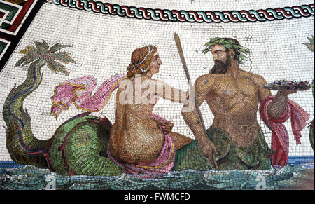 Roman mosaic replica of the Baths of Ocriculum (Otricoli, Italy). Detail of a Triton and a Nereid. Small Hermitage. - Stock Photo