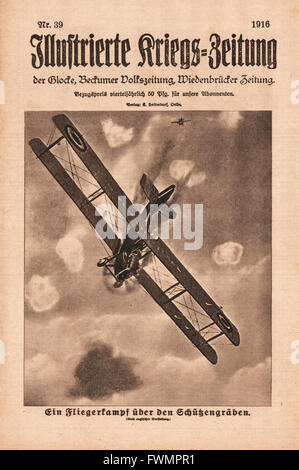 1916 Illustrierte Kriegs-Zeitung front page Air battle above the trenches - Stock Photo