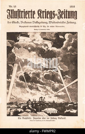 1916 Illustrierte Kriegs-Zeitung front page Zeppelin attack on Bucharest - Stock Photo