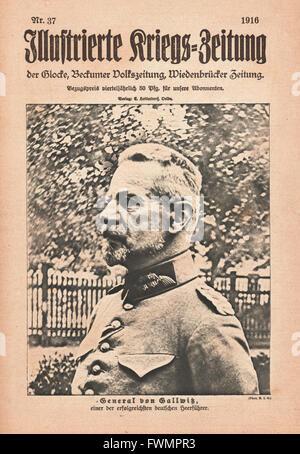 1916 Illustrierte Kriegs-Zeitung front page General von Gallwitz - Stock Photo