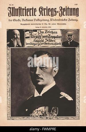 1916 Illustrierte Kriegs-Zeitung front page Admiral Reinhard Scheer - Stock Photo