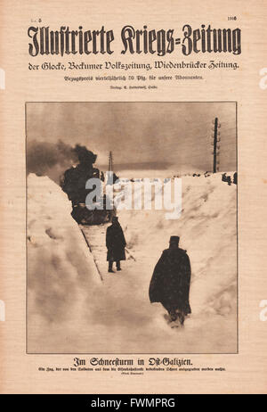 1916 Illustrierte Kriegs-Zeitung front page Snowstorm in East Galicia - Stock Photo