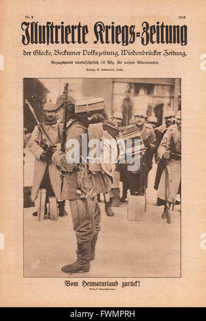 1916 Illustrierte Kriegs-Zeitung front page Back to the Front after home leave - Stock Photo