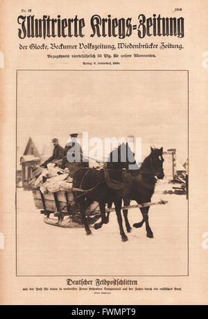 1916 Illustrierte Kriegs-Zeitung front page German field post sleigh - Stock Photo