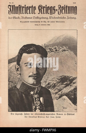 1916 Illustrierte Kriegs-Zeitung front page Charles I of Austria - Stock Photo