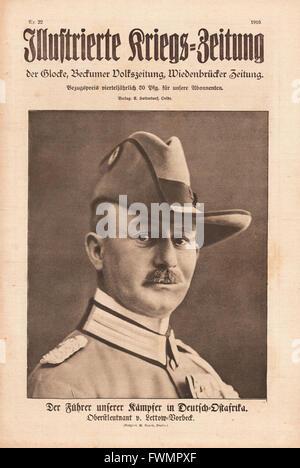1916 Illustrierte Kriegs-Zeitung front page General Paul Emil von Lettow-Vorbeck - Stock Photo
