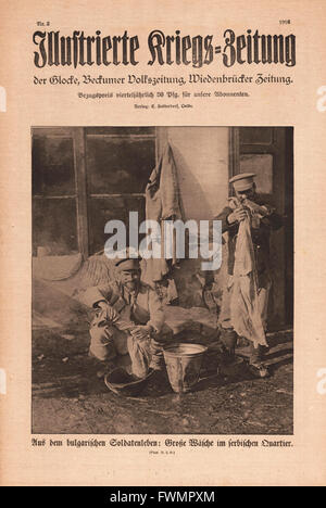 1916 Illustrierte Kriegs-Zeitung front page Bulgarian soldiers washing clothes - Stock Photo