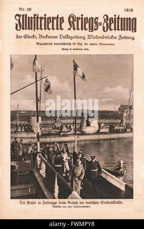 1916 Illustrierte Kriegs-Zeitung front page Kaiser Wilhelm in Zeebrugge - Stock Photo