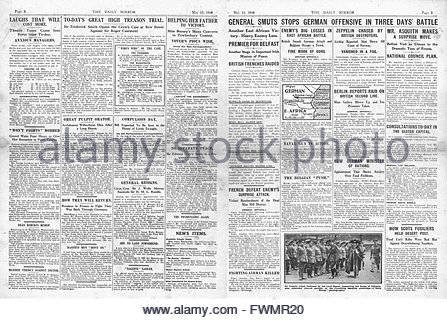 1916 Daily Mirror pages 2 & 3 General Smuts stops German offensive in East Africa and trial of Roger Casement opens - Stock Photo