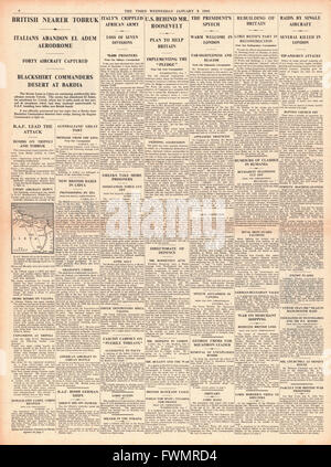 1941 page 4 The Times British Army advance on Tobruk - Stock Photo