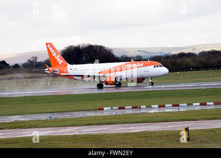 easyJet Airbus A320-214 Airliner G-EZON Landing on Arrival at Manchester International Airport England United Kingdom - Stock Photo