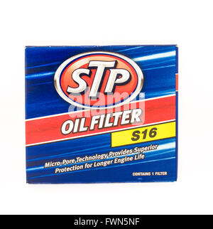 Winneconne, WI - 19 August 2015: Box of a STP oil filter that is changed when changing oil. - Stock Photo