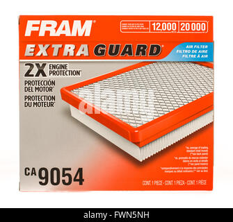 Winneconne, WI - 19 August 2015: Box of a Fram air fitler. - Stock Photo