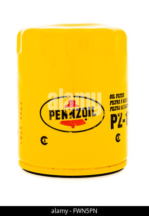 Winneconne, WI - 23 August 2015:  Pennzoil oil filter used on vehicles. - Stock Photo