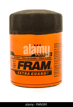 Winneconne, WI - 23 August 2015:  Fram oil filter used on vehicles. - Stock Photo