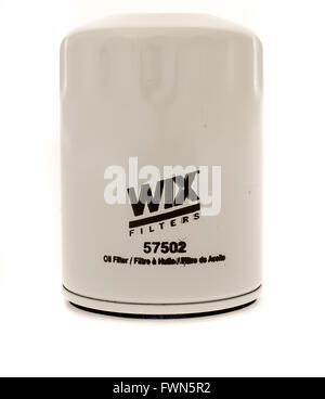 Winneconne, WI - 23 August 2015:  Wix oil filter used on vehicles. - Stock Photo