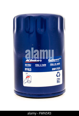 Winneconne, WI - 23 August 2015:  ACdelco oil filter used on vehicles. - Stock Photo