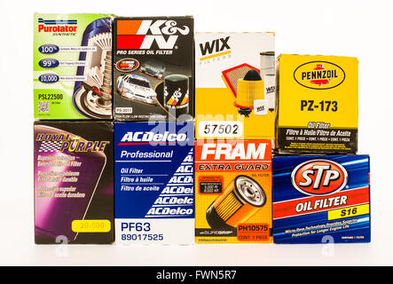 Winneconne, WI - 23 August 2015:  Oil filters from some of the biggest manufacturars. - Stock Photo