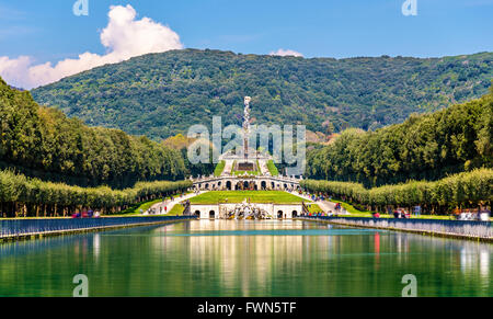 Kilometers-long promenade along cascades at the Palace of Caserta - Stock Photo