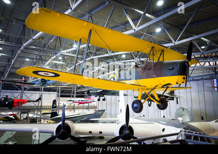 De Havilland Tiger Moth training aircraft from WWII on display at IWM Duxford UK - Stock Photo