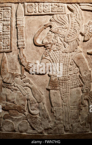 Maya low relief in stone at the British Museum in London - Stock Photo