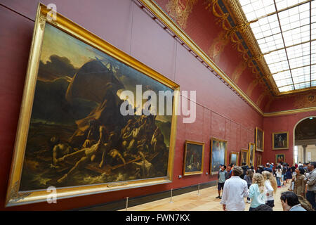 The Raft of the Medusa 1819 by Theodore Gericault in the Louvre Museum in Paris with visitors - Stock Photo
