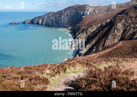 View across Gogarth Bay to cliffs on rocky coastline near North Stack from clifftop path in European Geopark. Anglesey - Stock Photo