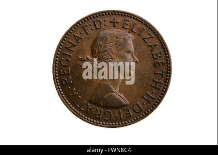 Old half penny, pre decimal coin. - Stock Photo