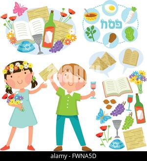set of Passover illustrations with kids and related symbols - Stock Photo