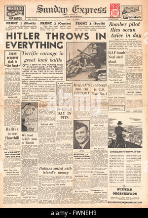 1941 front page  Sunday Express Battle for Russia - Stock Photo