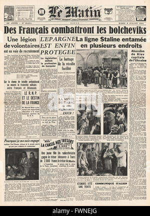 1941 front page Le Matin French Volunteers recruited into German Army - Stock Photo