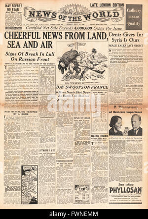 1941 front page  News of the World Cheerful News for Allies - Stock Photo