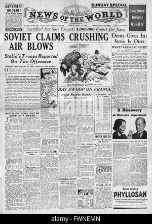 1941 front page  News of the World Russian Air Force Halt German Advance - Stock Photo