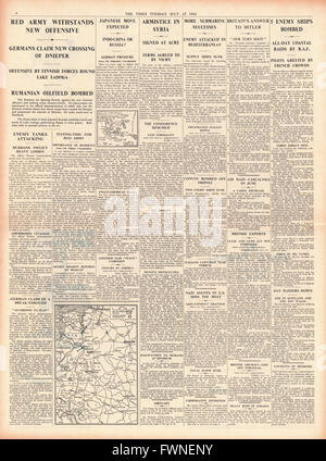 1941 page 4 The Times Russian Air Force hit German Advance and Syrian Armistice signed - Stock Photo