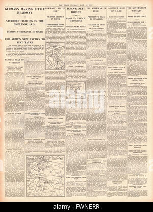 1941 page 4  The Times German Advance slows in Russia and Roosevelt says U.S. 'In peril' - Stock Photo